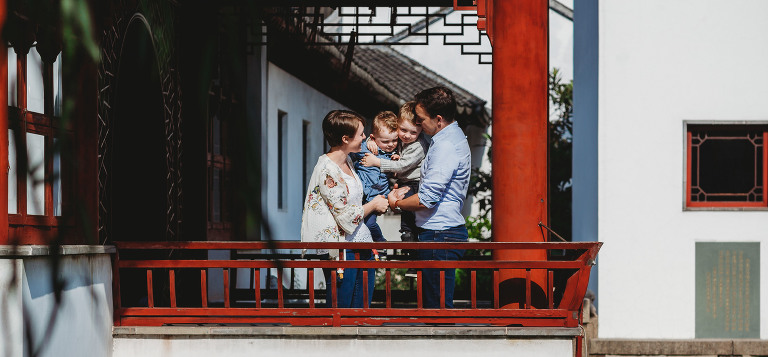 family portrait in a shanghai temple